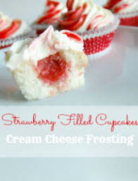 Strawberry Filled Cupcakes with Cream Cheese Frosting