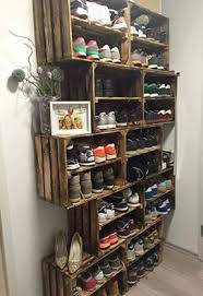 Use Wood Crates For A Shoe Rack