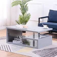 goldfan couchtisch hochglanz wohnzimmertisch rechteckig kaffeetisch moderne quadratisch tisch grau für wohnzimmer tisch