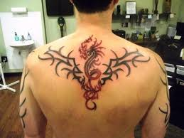 Tribal And Dragon Tattoo Design On Back