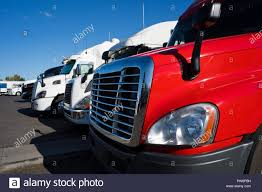 100 Different Trucks Big Rigs Semi Trucks Of Different Makes And Models Standing In Row