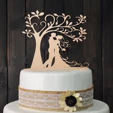 Romantic Rustic Wedding Wood Cake Topper Bride Groom Kissing Under Love Tree Vintage