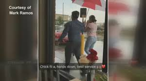 Video Of Chick-Fil-A Employee Holding Umbrella For Customers Goes ... Beach Fries Dc Food Truck Fiesta A Realtime Video Of Chickfila Employee Holding Umbrella For Customers Goes Patt Morrison National Same Sex Kiss Day Comes To How Chickfila Is Chaing The Pad Site Game The Finally At Hand Eater District Eats Today Dcs Scene Wandering Sheppard Launch Will Others Follow Chickfilas Opening Include 32k In Prizes Sugarland Crossing Posts Sterling Virginia Menu Mobile Chickfamobile Twitter Lunch Washington Finder All Trucks