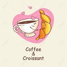 kaffee und croissant liebe für immer vector illustration eines comic eine tasse kaffee und ein croissant auf einem hintergrund herzen