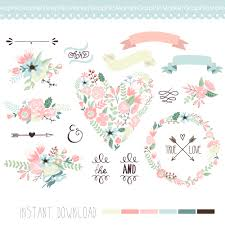 Wedding Floral Clipart Digital Wreath Frames Flowers Arrows Clip Art Scrapbooking Invitations Ribbons Banners Heart