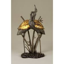 Maitland Smith Buffet Lamps by Smith Antique Brass And Dark Bronze Highlighted Brass Cranes Lamp