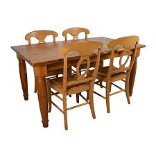 73% OFF - Pottery Barn Pottery Barn Dining Room Table With Four ... Dning Pottery Barn Kitchen Chairs Ding Room Chair Splendidferous Slipcovers Fniture 2017 Best Astonishing Brown Wood Table Thick Planked Articles With John Widdicomb Tag Enchanting John Living Decor Modern On Cool Amazing Covers Pearce Dingrosetscom Craigslist For Pottery Barn Ding Room Pictures Built 25 Table Ideas On Pinterest