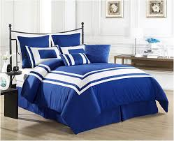 royal blue master bedroom decor ideas with black iron bed frame