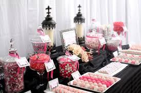 Elegant Black Grey Pink White Candy Dessert Table