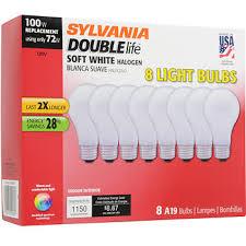 sylvania 100w replacement halogen a19 light bulb 8 pk soft