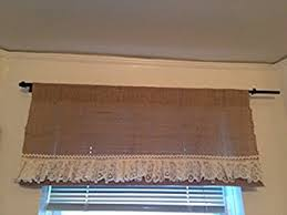 Amazon Lace Kitchen Curtains by Amazon Com K U0026m Curtains Burlap And Lace Valance Home U0026 Kitchen