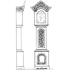 Grandfather Clock From Front And Side View Coloring Pages