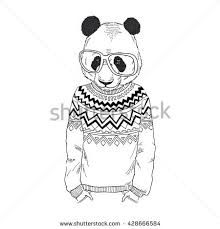 Panda Boy Dressed Up In Jacquard Pullover Furry Art Illustration Fashion Animals Hipster