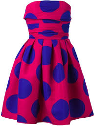 boutique moschino strapless polka dot dress in pink lyst