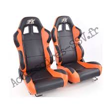 sieges semi baquet paire sièges semi baquets boston canam maverick noir orange simili