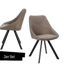 stuhl taupe braun esszimmerstuhl gesteppt 2er set wohnzimmer
