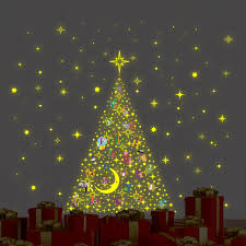 The Holiday Aisle Learn ABC Glow In Dark Christmas Tree Stars Wall Decal