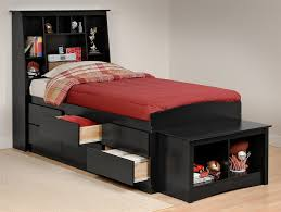 Black Twin Bed Frame with Storage — Modern Storage Twin Bed Design