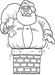 Santa Stuck On Chimney Christmas Coloring Page