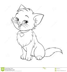 Vector Cartoon Fun Cute Kitten Line Art Stock
