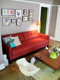 Living Room With Red Couch Grey Walls Picture Gallery