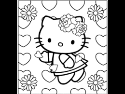 Hello Kitty Hearts And Flowers Coloring Book