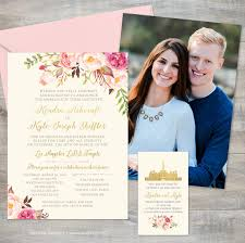Pink Floral Gold and Cream Wedding Invitation Set by Jeneze