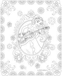 Disney Princess Elena And Storytime Guitar Coloring Page Free