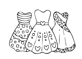 Three Dress Coloring Pages