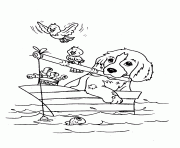 Dog Fishing 9929 Coloring Pages