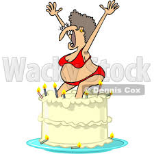 Clipart of a Cartoon Ugly White Woman in a Bikini Popping out of a Birthday