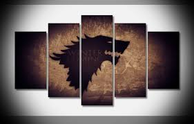 5 Panel House Stark Game Of Thrones Canvas Wall Art