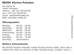 ᐅ öffnungszeiten reddy küchen potsdam am kanal 54 in