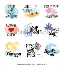 Set Of Watercolor Banners Hand Drawn Stickers Vector Holiday Illustration Summer Vacation