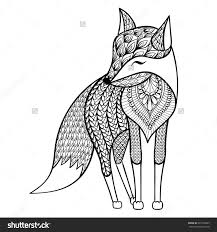Zentangle Vector Happy Fox For Adult Anti Stress Coloring Pages Ornamental Tribal Patterned Illustration