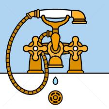 brass bathtub faucet dripping vector illustration adrian