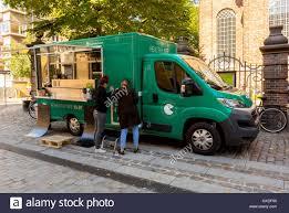 100 Healthy Food Truck Copenhagen Denmark Two Women Preparing On Street Near