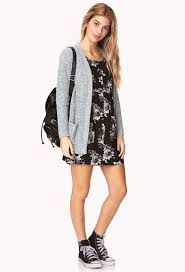 forever21 floral dress cardigan sneaker all star converse