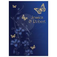 Great Royal Blue And Gold Floral Wedding Invitation With Flowers Butterflies
