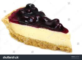 A delicious piece of Blueberry Cheesecake Isolated on white