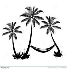 Palm Trees With Hammock Illustration Megapixl