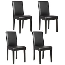Details About 4PCS Elegant Design Leather Dining Chairs Breakfast Kitchen  Room Furniture Black