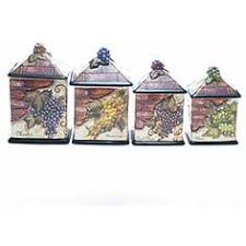 3 pc vineyard canister set wine themed kitchen decor wine