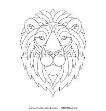 Lion Head With Mane Portrait Graphic Illustration Sketch For Adult Anti Stress