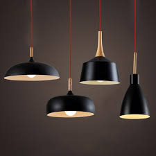 Modern Pendant Light Nordic Style Suspension Luminaire Hanging Lamp Vintage Rustic Wood Aluminium