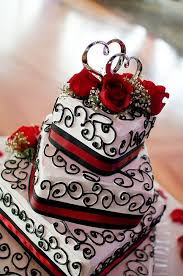 Unique bold red and black wedding cake
