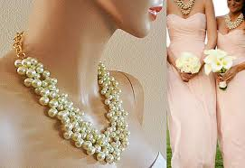 Bridesmaid Pearl Necklace Wedding Bridal Jewelry Chunky Statement Bib