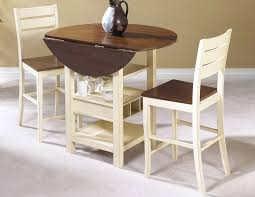 very small round drop leaf dining table with wine and glasses