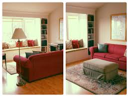 Adorable Red Sofa At Contemporary Sitting Space Using Living Room Furniture Layout For Small