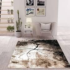 vimoda moderner teppich braun beige baumstumpf holz optik maße 120x170 cm